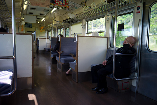 An odd sight in Japan, a train with open seats!